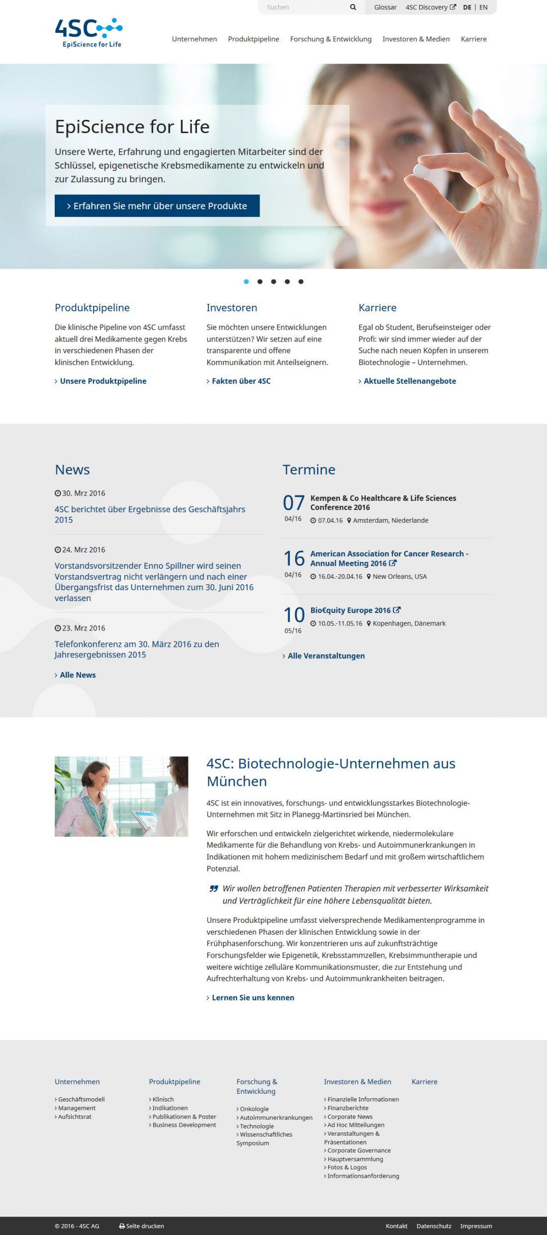 Screenshot Webseite 4SC