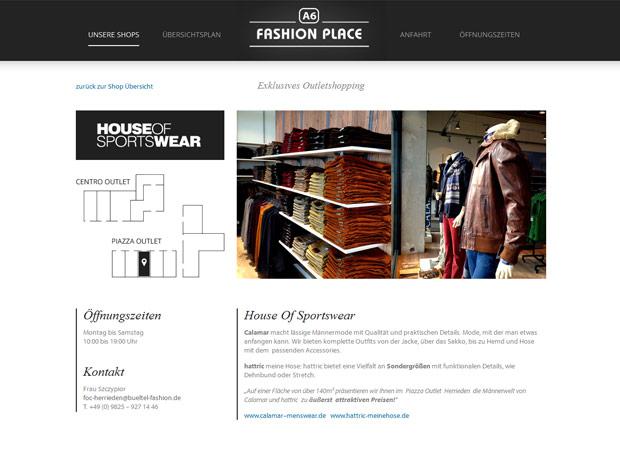 Screenshot Webseite A6 Fashion Place