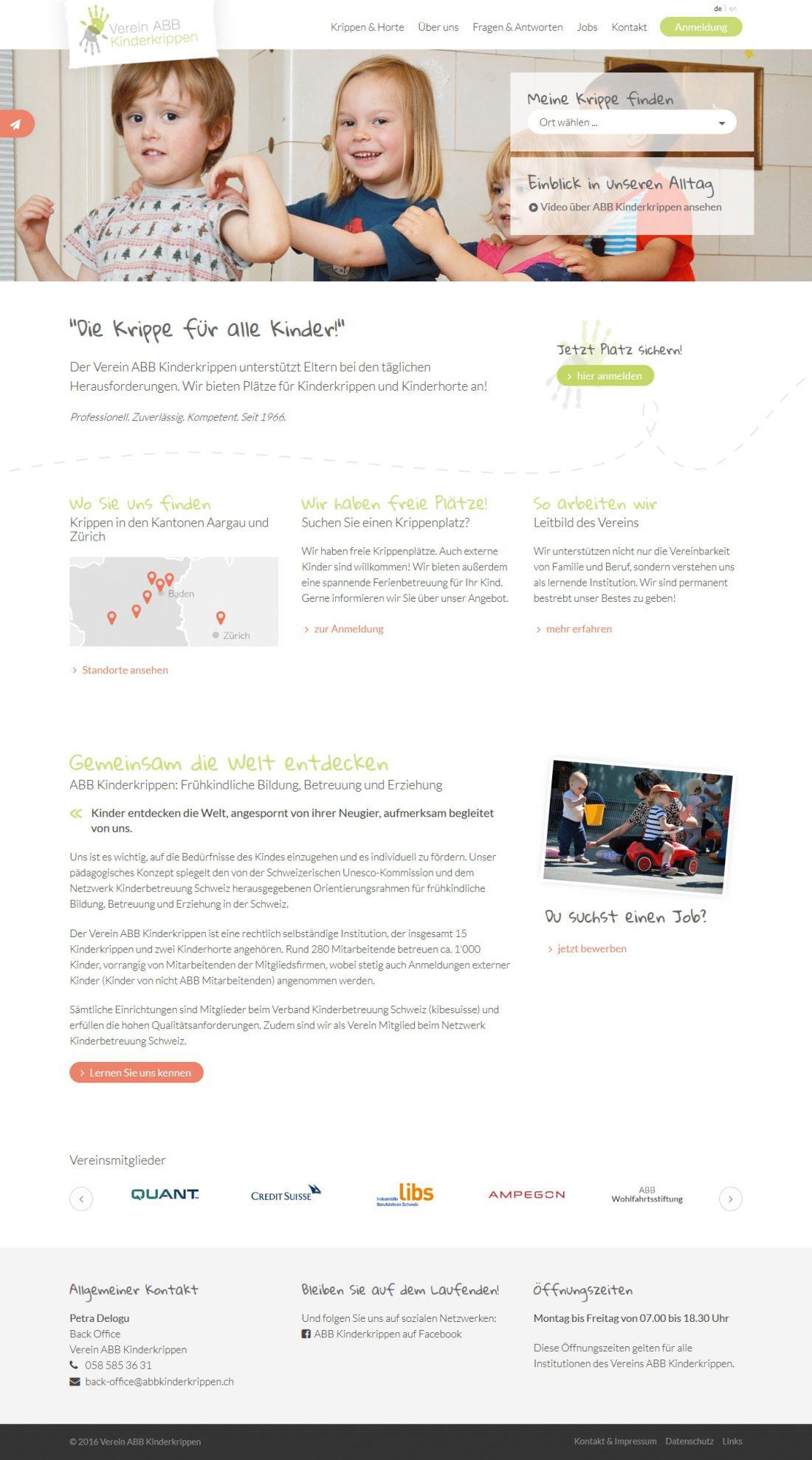 Screenshot Webseite ABB Kinderkrippen