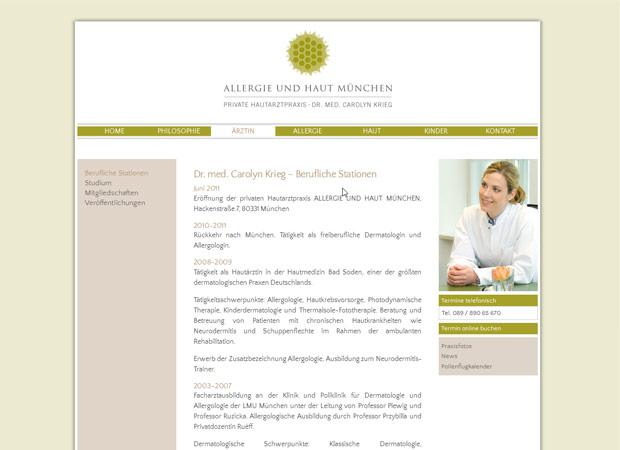 Screenshot Webseite Allergie und Haut München