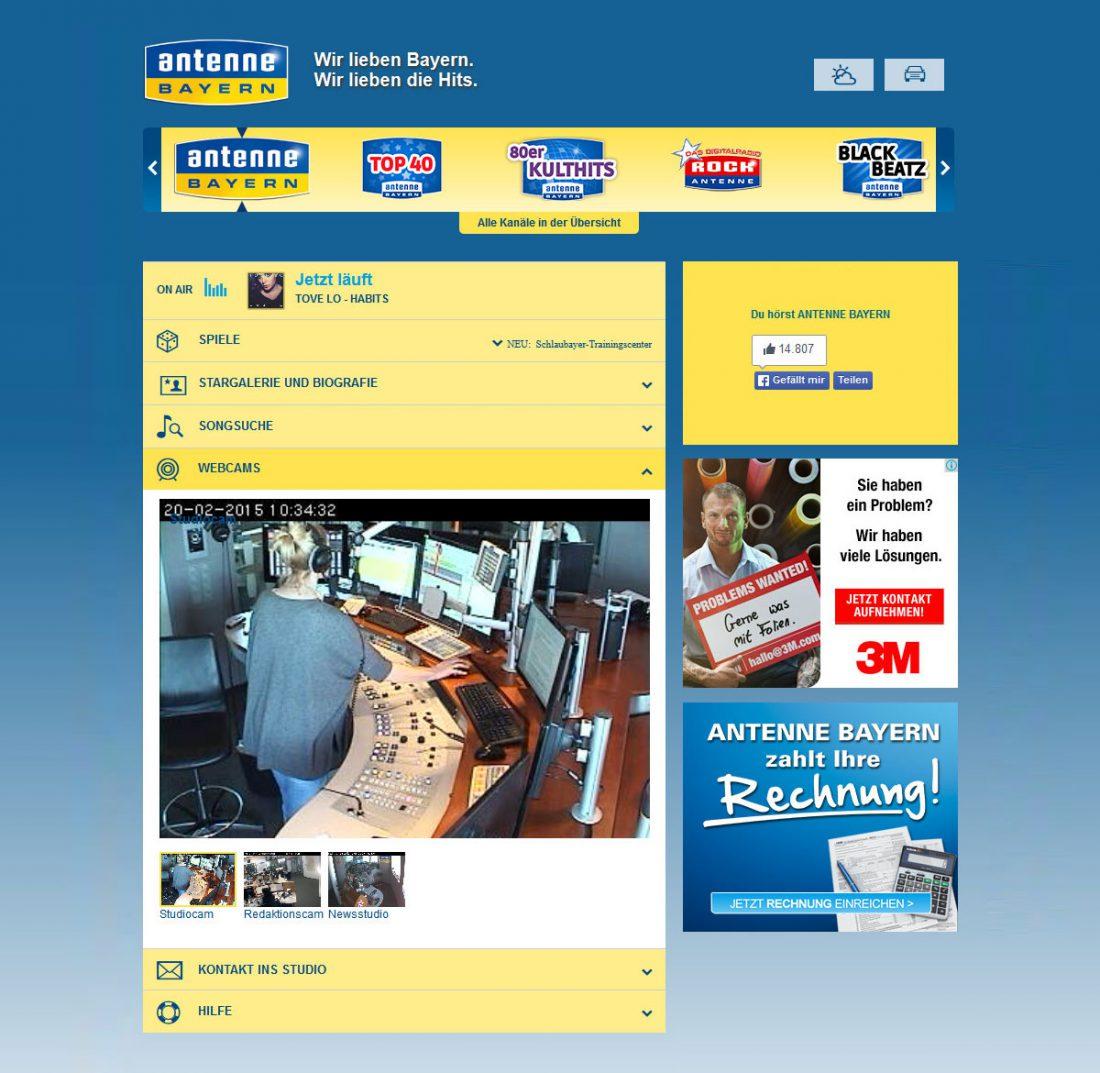 Screenshot Webseite ANTENNE Bayern Webradio