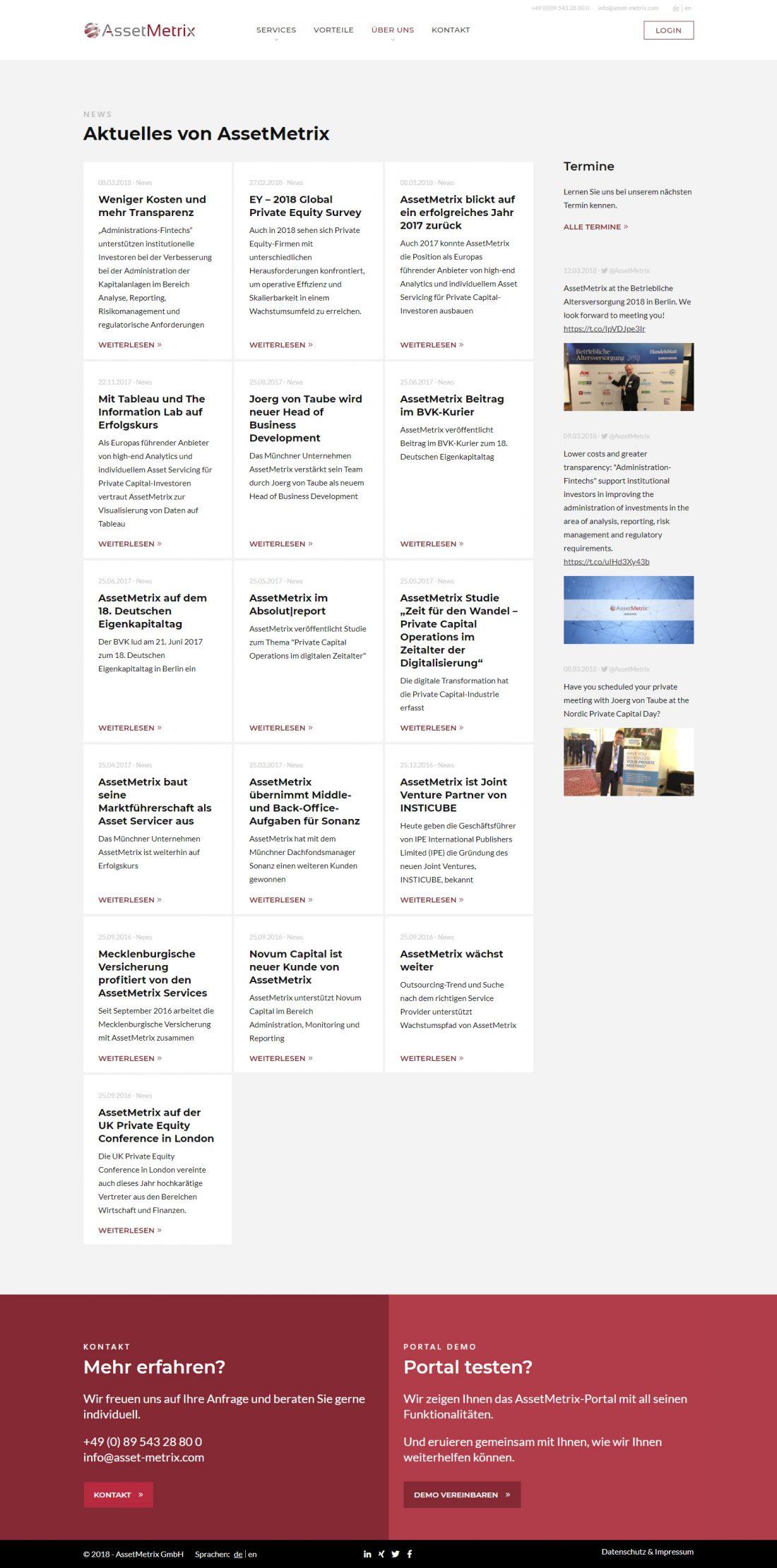 Screenshot Webseite Asset Metrix