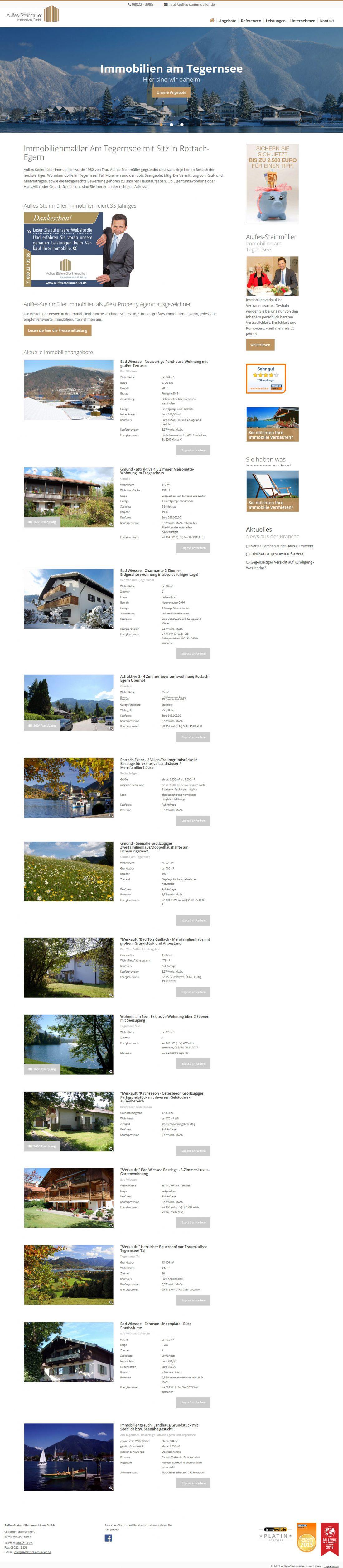 Screenshot Webseite Aulfes-Steinmüller Immobilien