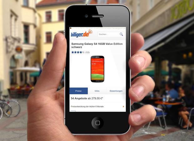 Screenshot Webseite Billiger.de