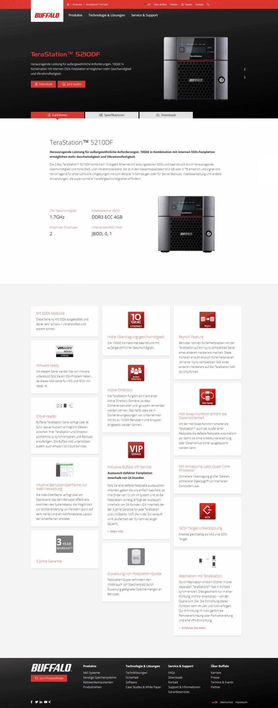 Screenshot Webseite Buffalo Technology