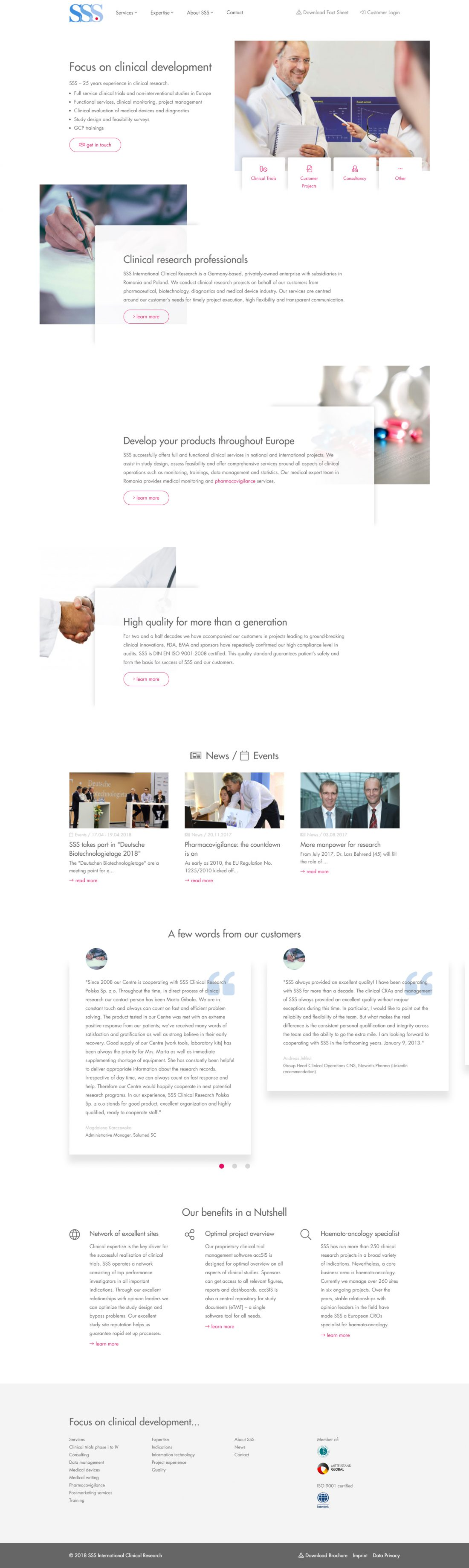 Screenshot Webseite SSS Clinical Research