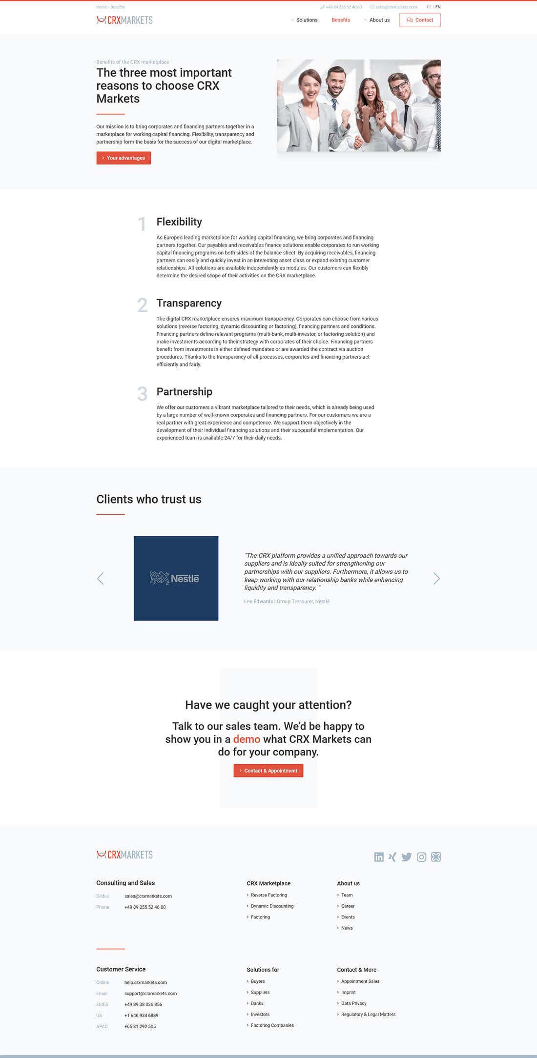 Screenshot Webseite CRX Markets