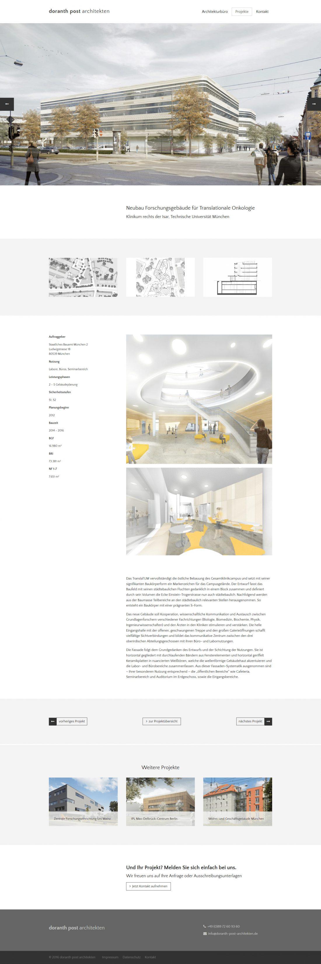 Screenshot Webseite Doranth Post Architekten