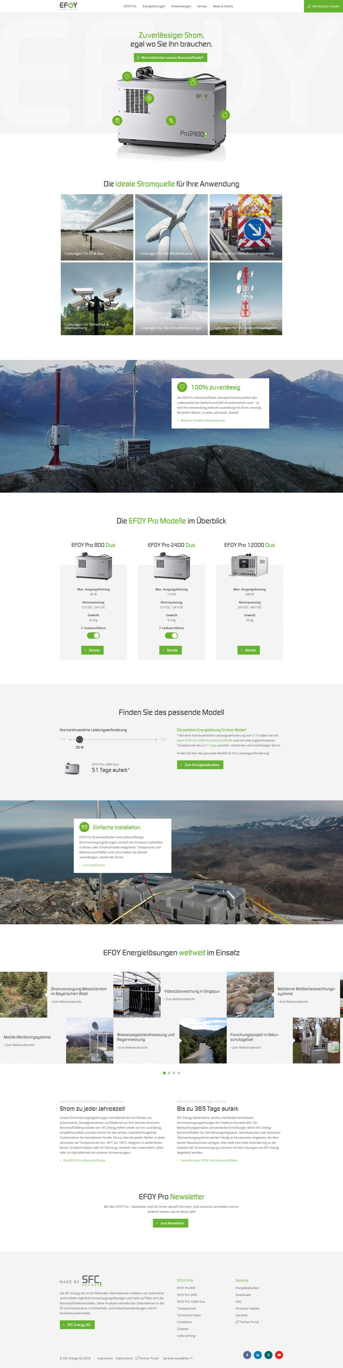 Screenshot Webseite EFOY Pro