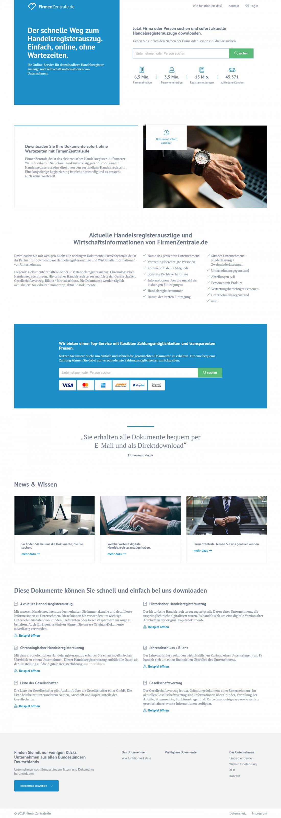 Screenshot Webseite FirmenZentrale.de