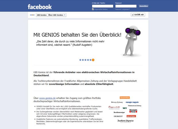Screenshot Webseite Genios
