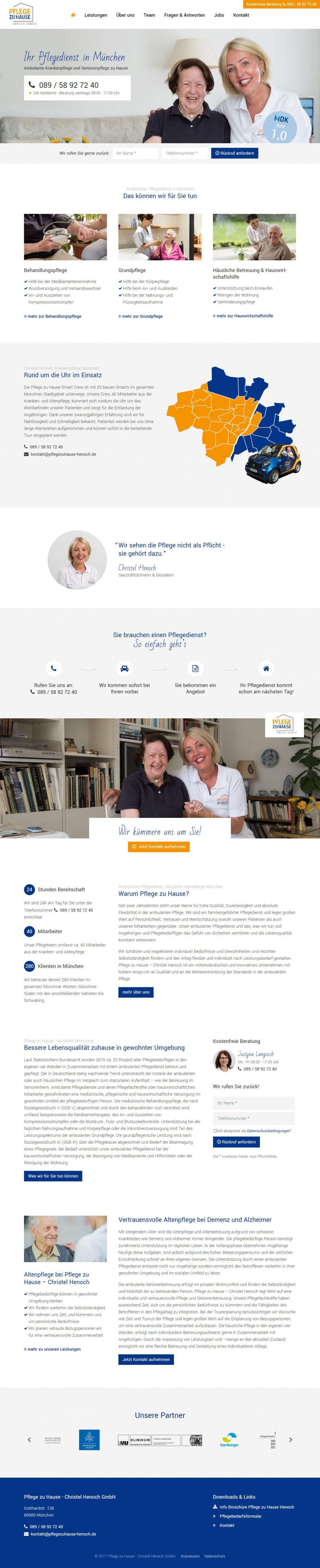 Screenshot Webseite Pflege zu Hause