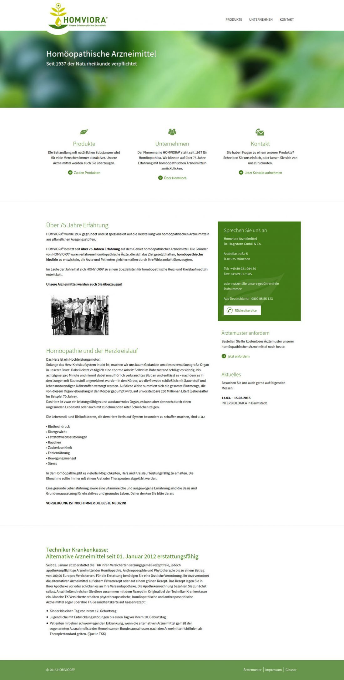 Screenshot Webseite Homviora
