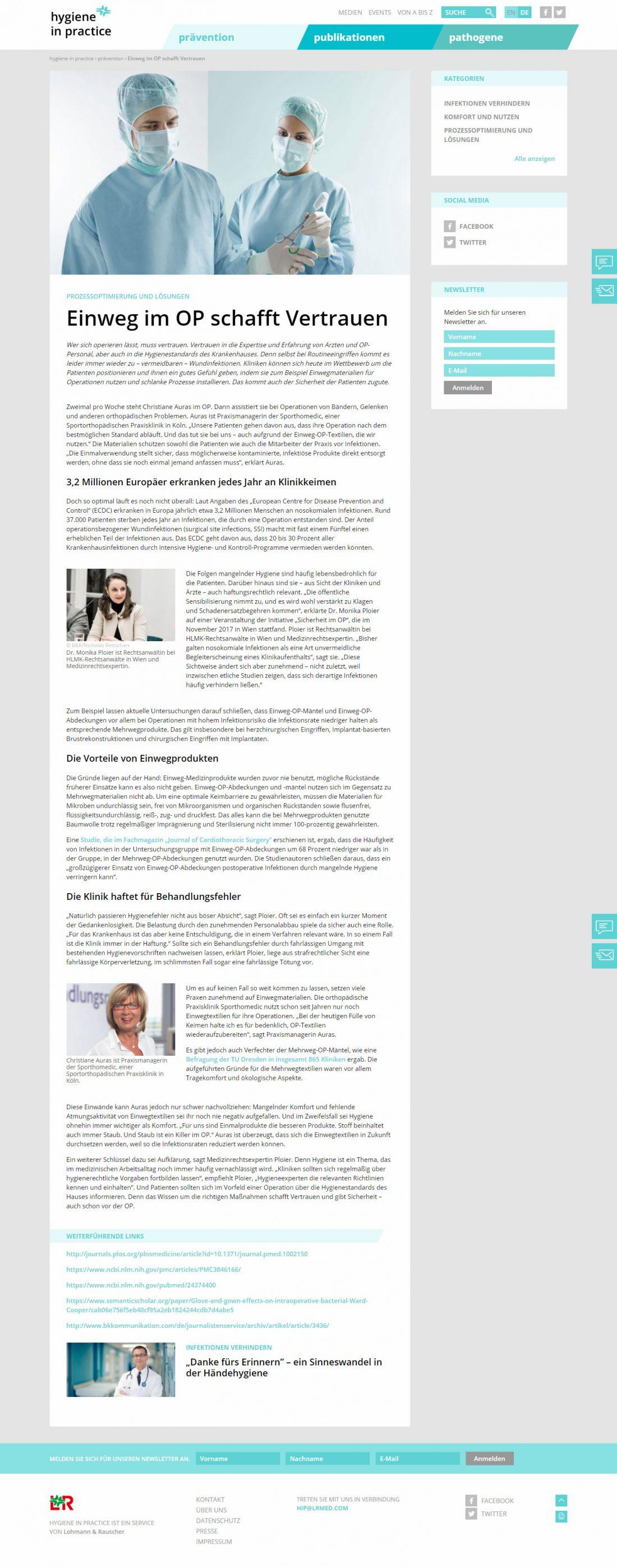 Screenshot Webseite hygiene in practice