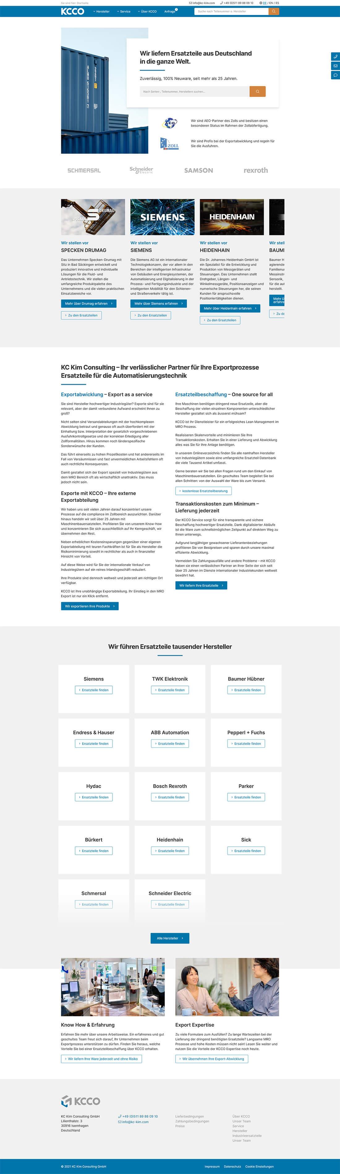 Screenshot Webseite KCCO
