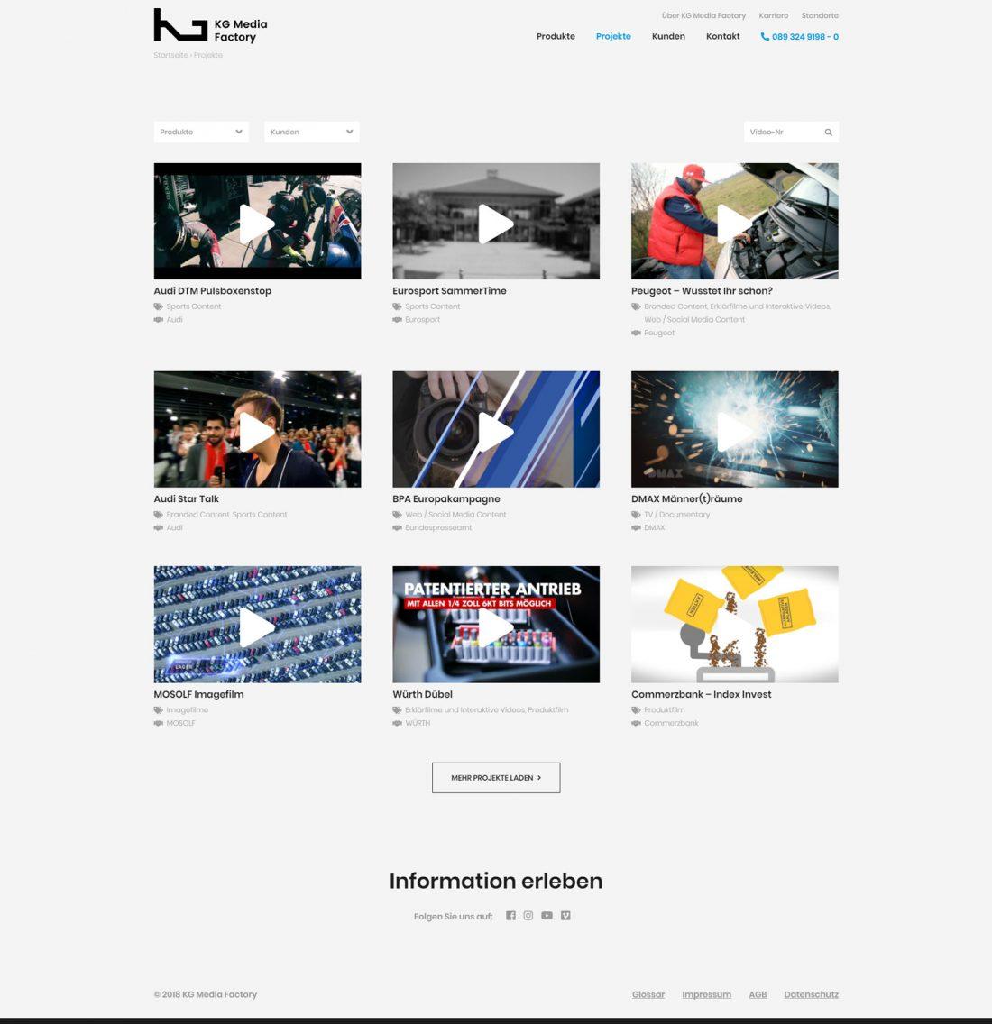 Screenshot Webseite KG Media Factory