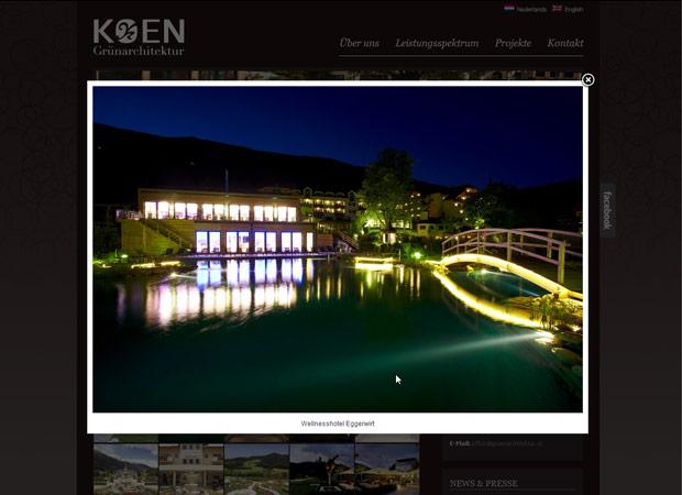 Screenshot Webseite Grünarchitektur Koen