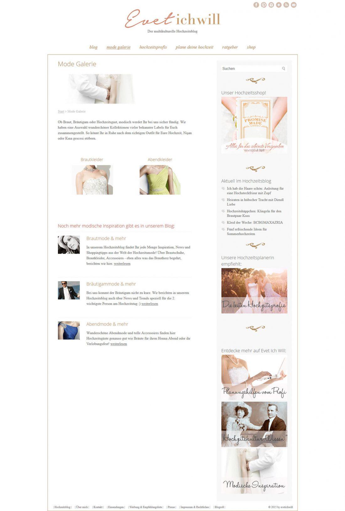 Screenshot Webseite Evet – ich will