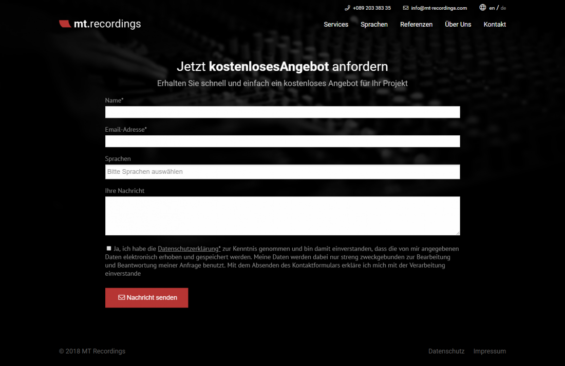Screenshot Webseite mt.recordings