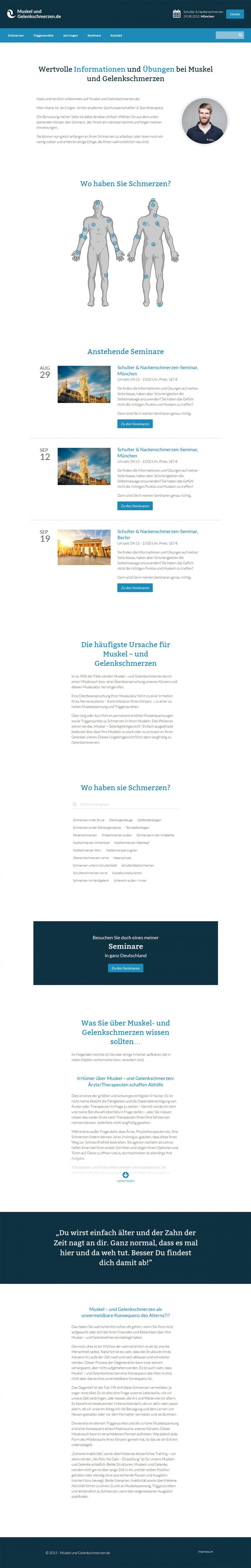 Screenshot Webseite Muskel- und Gelenkschmerzen