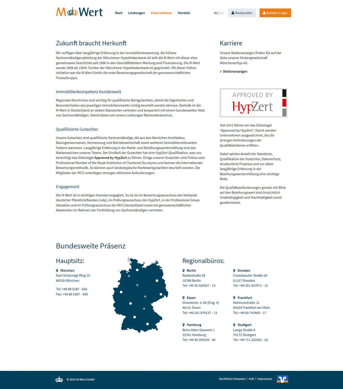 Screenshot Webseite M-Wert