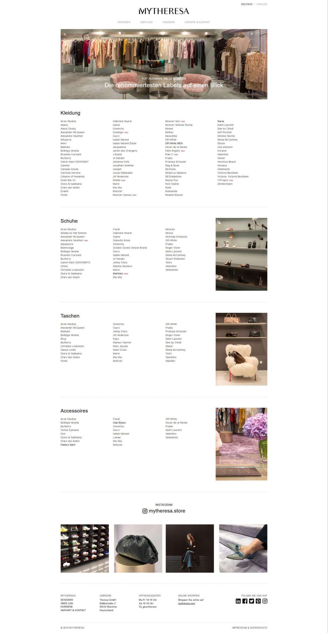 Screenshot Webseite Mytheresa Store