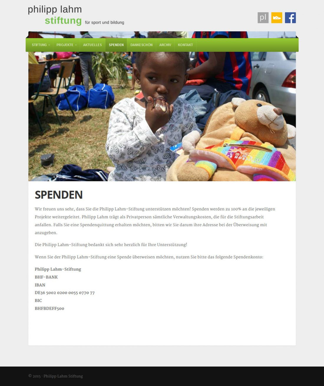 Screenshot Webseite Philipp Lahm Stiftung