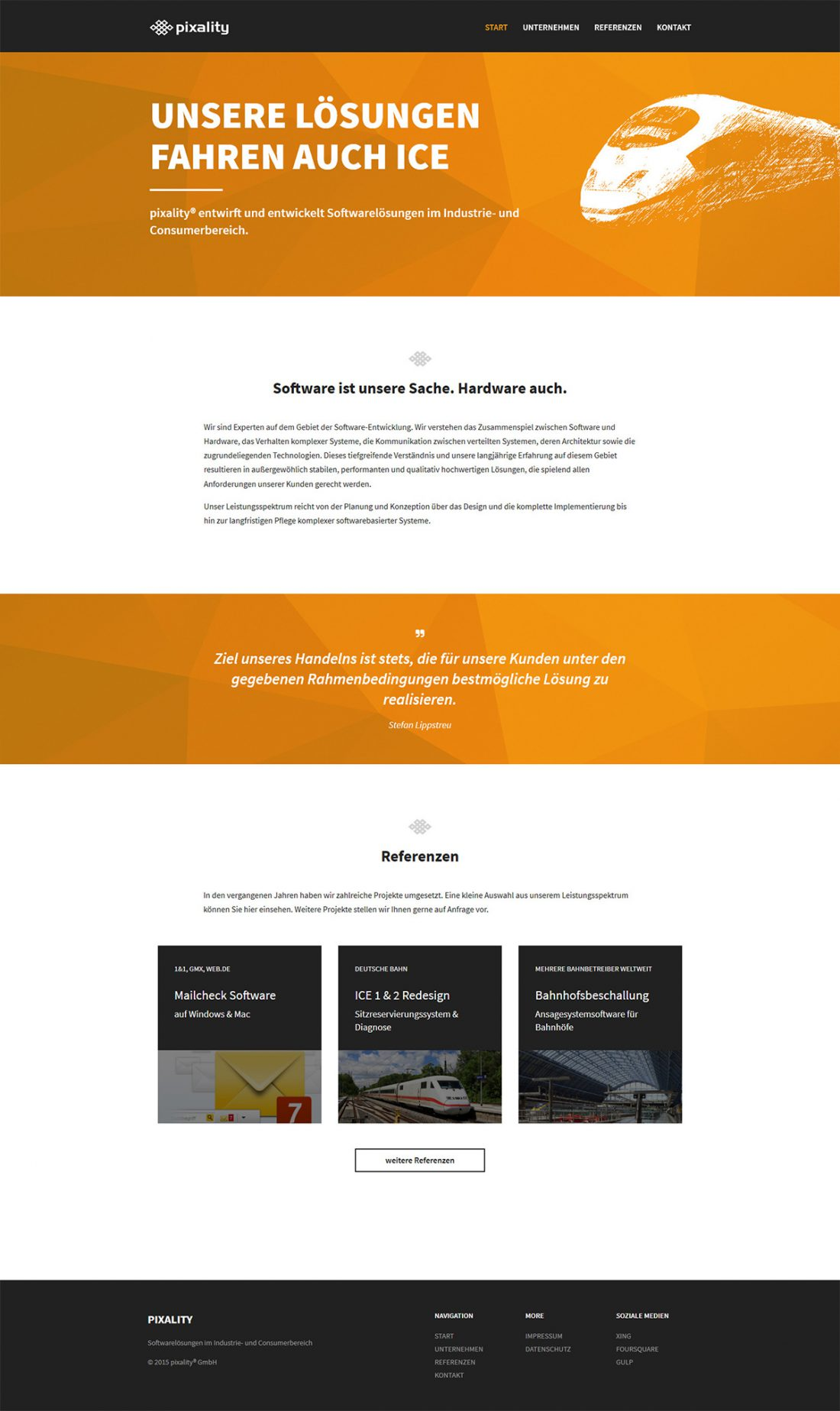 Screenshot Webseite Pixality