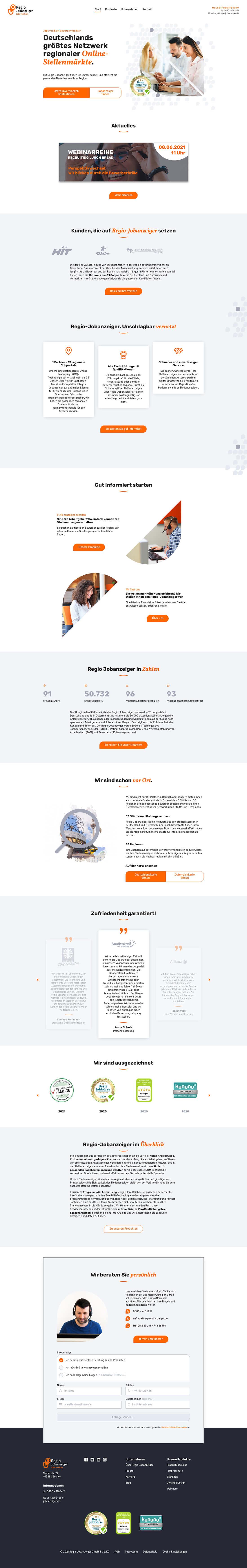 Screenshot Webseite Regio Jobanzeiger