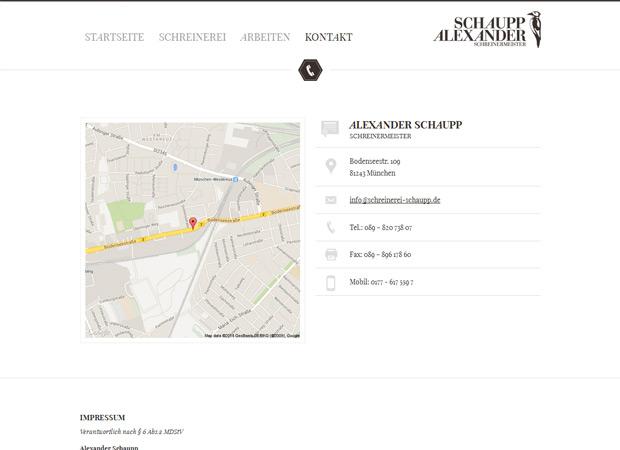 Screenshot Webseite Schreinerei Alexander Schaupp