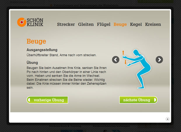 Screenshot Webseite Schön Klinik Rückentraining