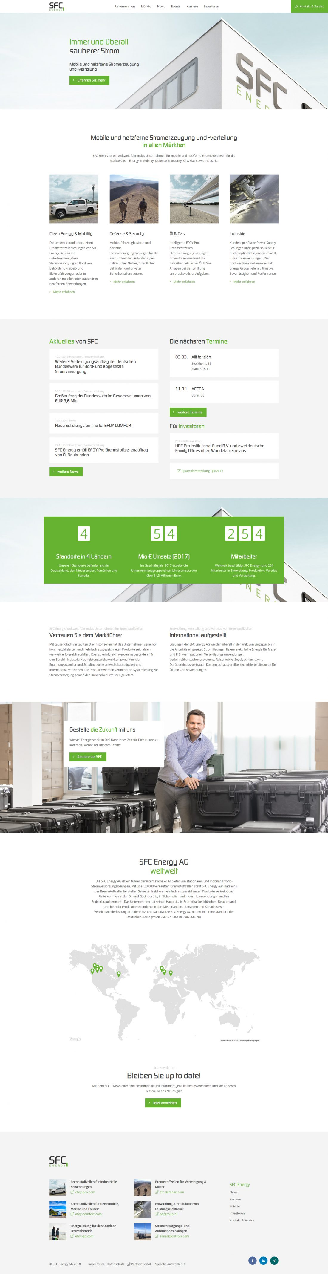 Screenshot Webseite SFC Energy