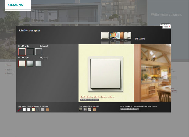 Screenshot Webseite Siemens Schalterdesigner