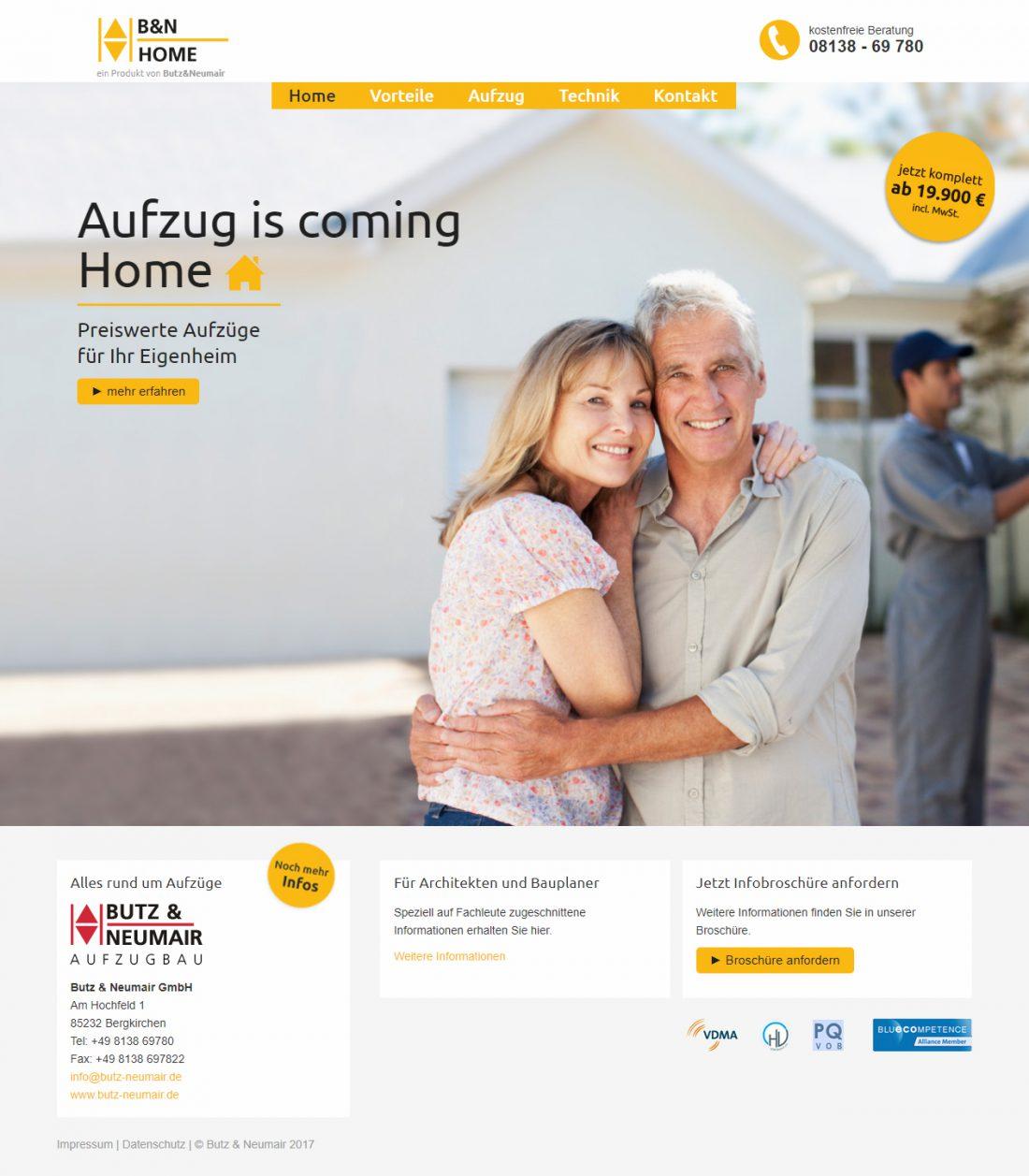 Screenshot Webseite Mobil nach Oben