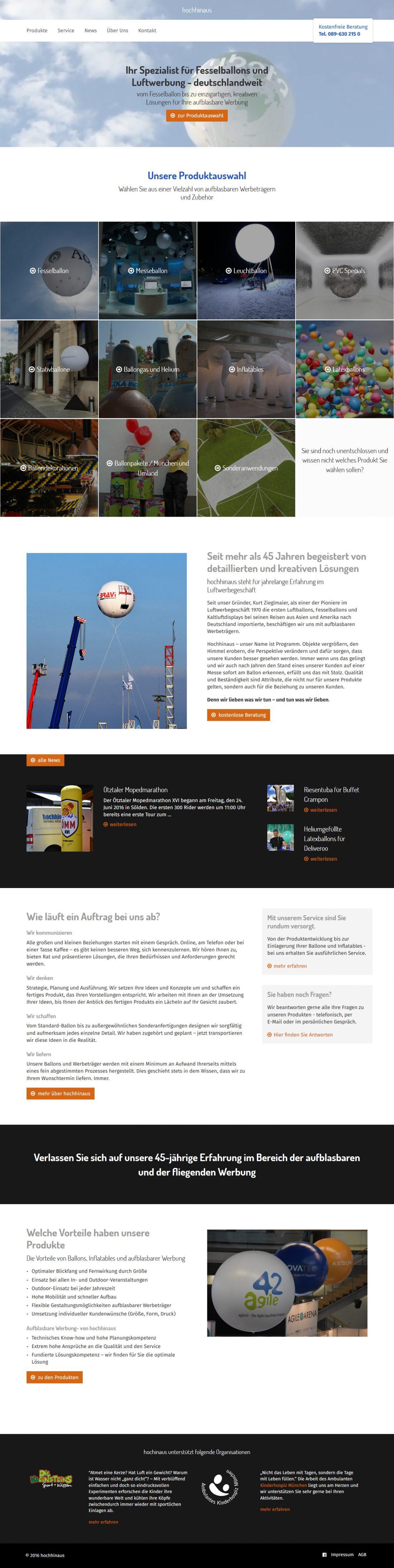Screenshot Webseite hochhinaus