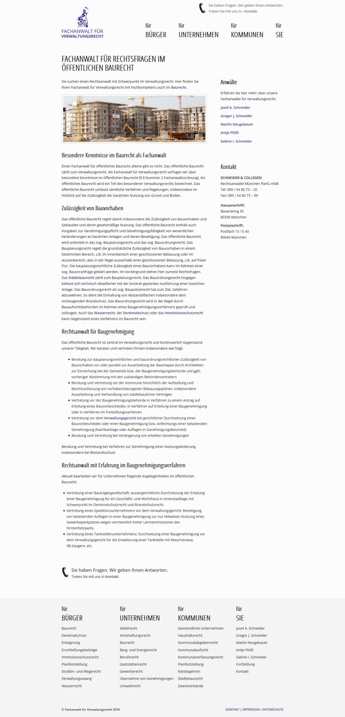 Screenshot Webseite Fachanwalt für Verwaltungsrecht