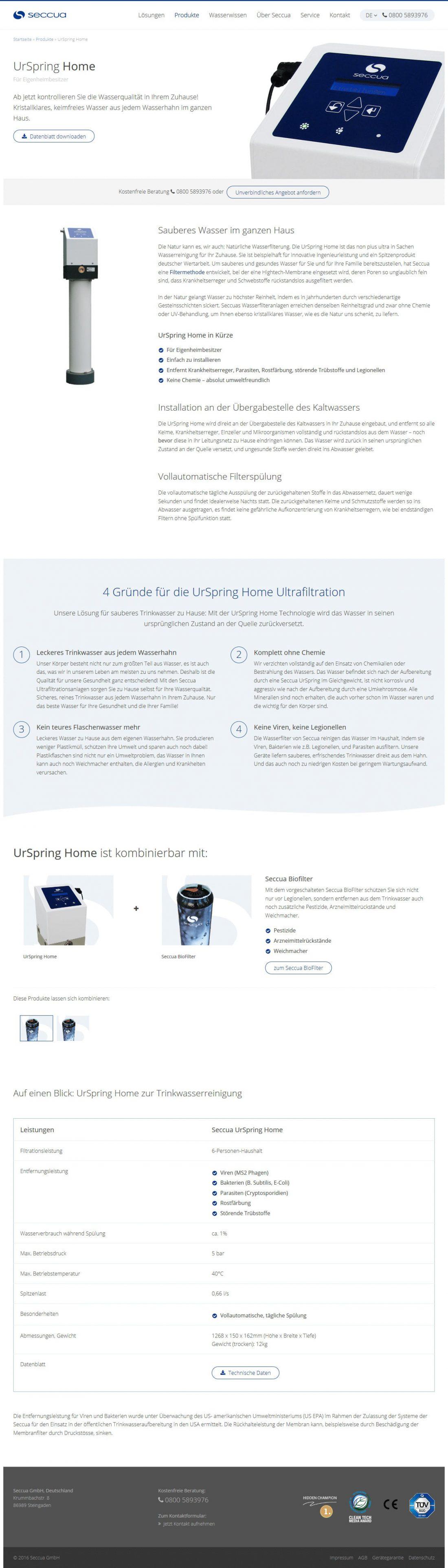 Screenshot Webseite Seccua