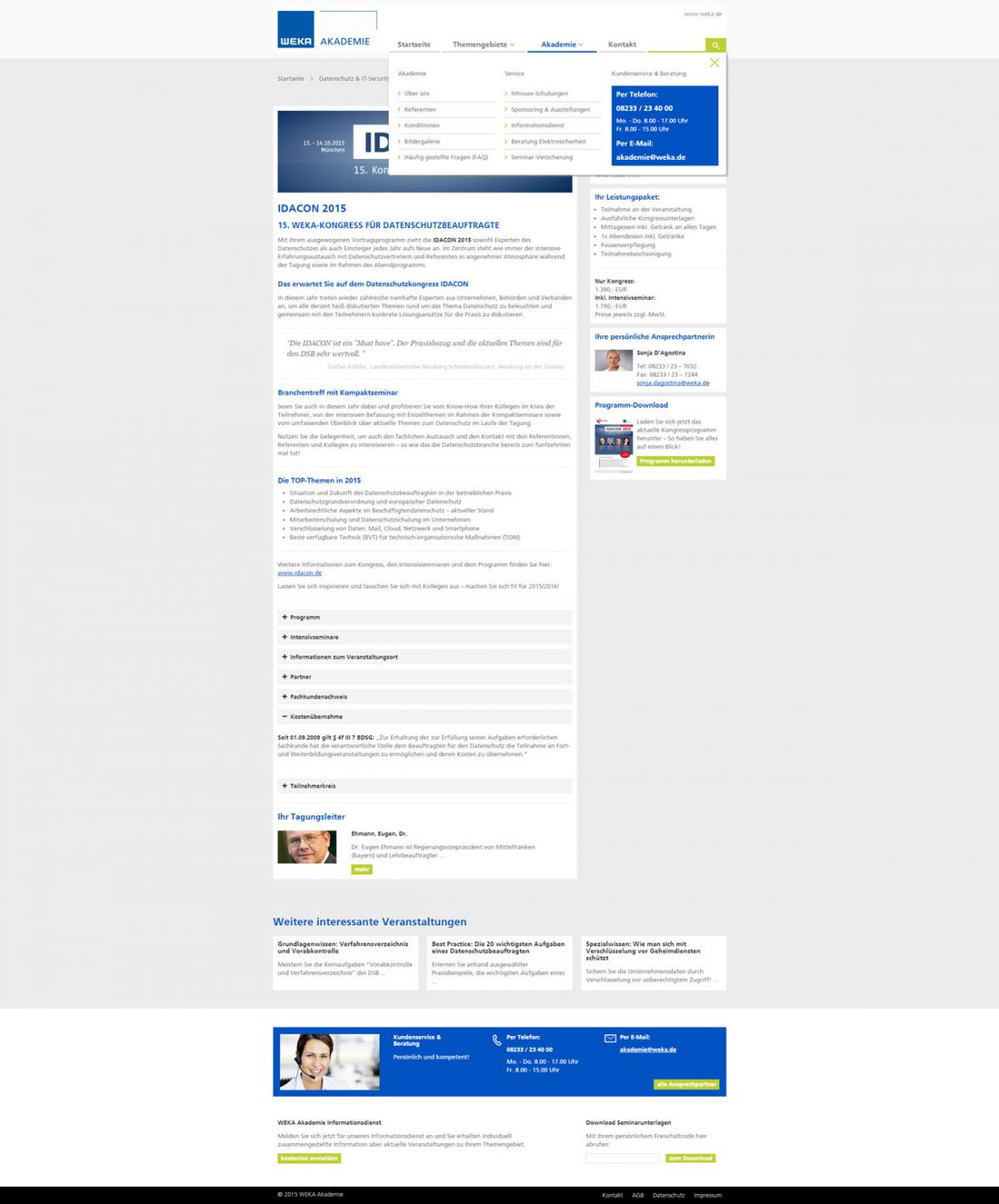 Screenshot Webseite WEKA Akademie